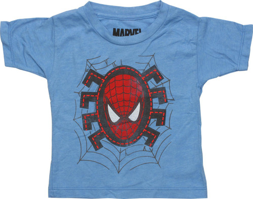 Spiderman Head Stitches HD Blue Infant T-Shirt