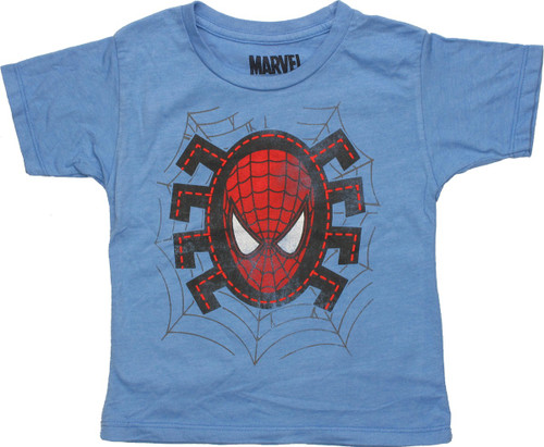 Spiderman Head Stitches HD Blue Toddler T-Shirt