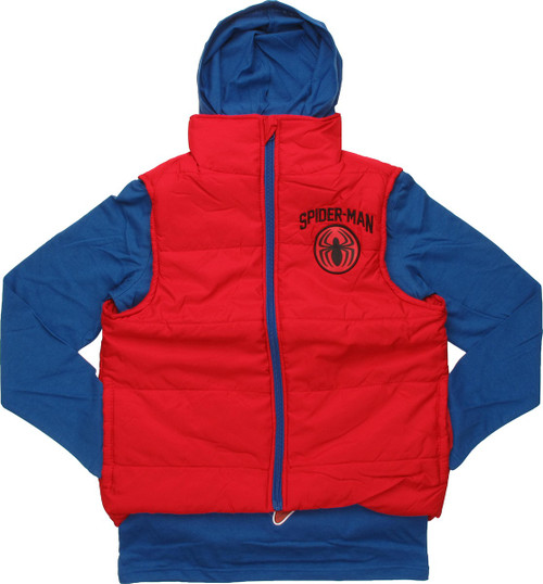 Spiderman Hooded Shirt and Sleeveless Youth Jacket