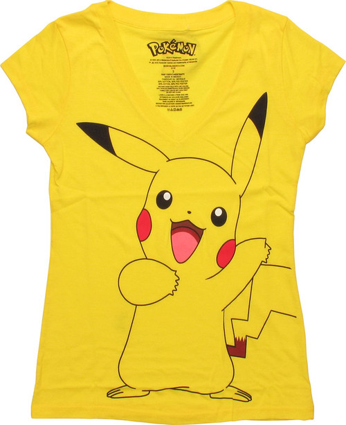 93b764db5 Pokemon Pikachu V Neck Juniors T-Shirt baby-tee-pokeman-pikachu-vneck