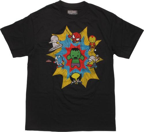 Marvel Seven Cuties Pow Logo T-Shirt