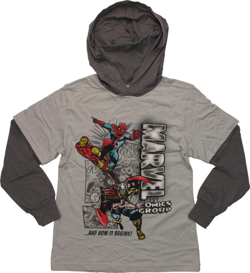 Marvel Begins Hooded Long Sleeve Youth T-Shirt