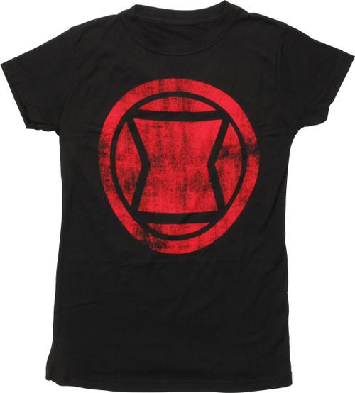 Black Widow Distressed Icon Juniors T-Shirt
