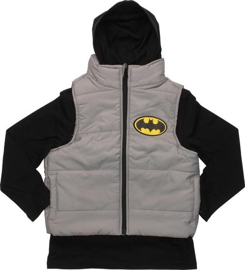 Batman Hooded Shirt and Sleeveless Juvenile Jacket