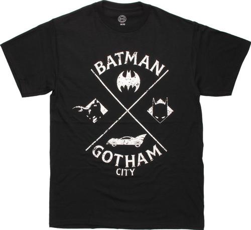 Batman Icons Crossed Vintage T-Shirt