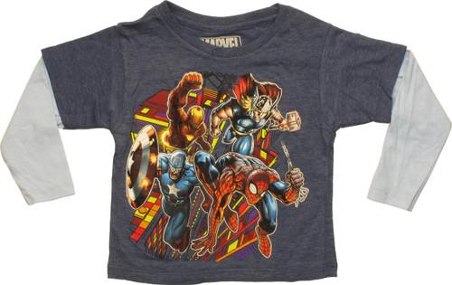 Avengers Heroes City Rush Navy LS Toddler T-Shirt
