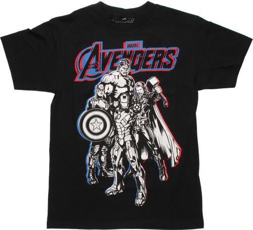 Avengers B&W Heroes Glow in the Dark T-Shirt
