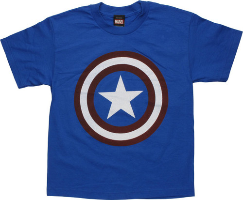 Captain America Distress Logo Royal Youth T-Shirt