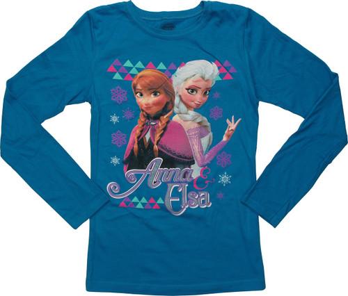 Frozen Anna Elsa Long Sleeve Youth T-Shirt