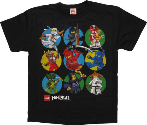 Lego Ninjago Nine Character Circles Youth T-Shirt