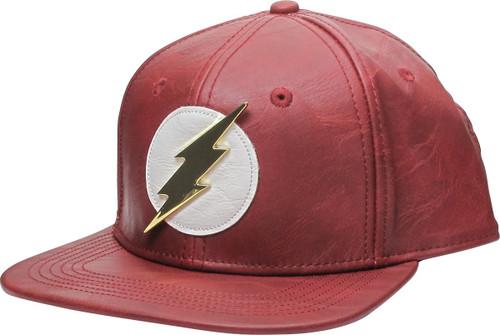 Flash Metal Logo Faux Leather Snapback Hat