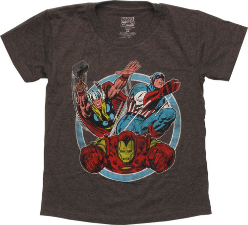 Avengers Group of Three Circle Juvenile T-Shirt