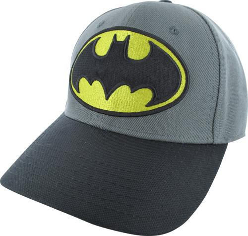 Batman Yellow and Black Logo Gray Flex Hat