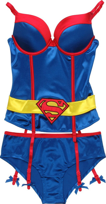 Superman Corset Garter Brief Lingerie Set