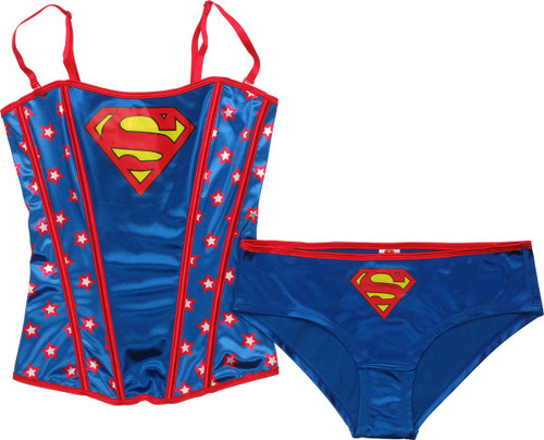 Superman Stars Corset Brief Lingerie Set