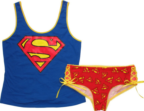 Superman Lace Mesh Tank Panty Pajama Set