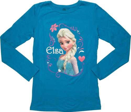 Frozen Elsa Swirl Frame Long Sleeve Youth T-Shirt