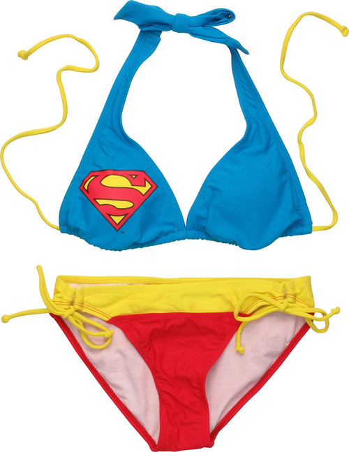 Superman Halter Top Soft Ties Bikini Swimsuit