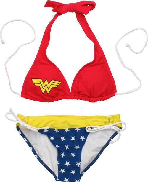 83bd276c5e Wonder Woman Halter Top Soft Ties Bikini Swimsuit