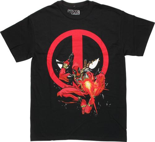 Deadpool Firing Out with Logo T-Shirt