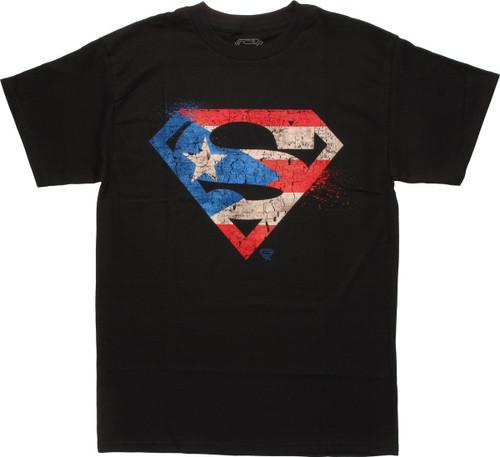 Superman Distressed Flag Logo T-Shirt