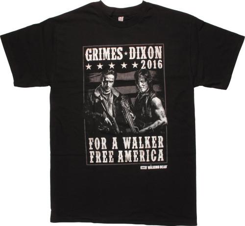 Walking Dead Grimes Dixon 2016 Walker Free T-Shirt