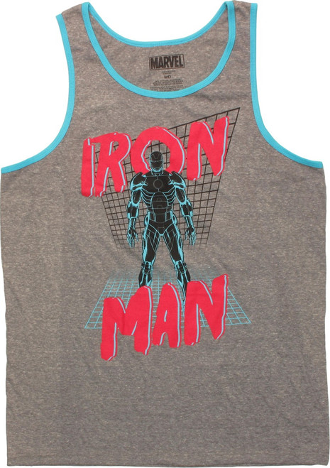 Iron Man Neon Grid Ringer Tank Top