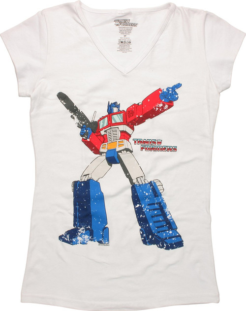 Transformers Vintage Prime V Neck Juniors T-Shirt