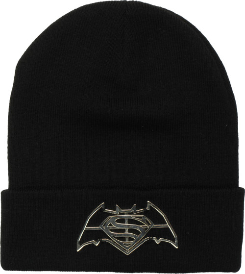 1753fef0fea Batman v Superman Metal Logo Emblem Cuff Beanie
