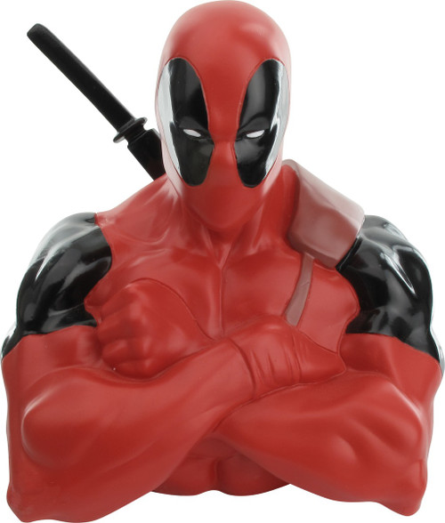 Deadpool Crossed Arms Bust Molded Coin Bank