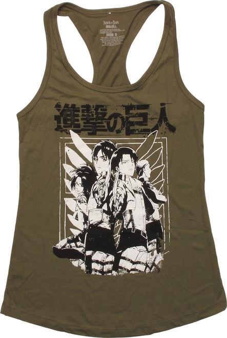 Attack on Titan Posing Racer Tank Juniors T-Shirt