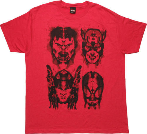 Avengers Four Inked Hero Heads T-Shirt