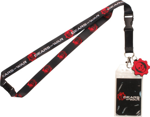 Gears of War Red Skull Logo Charm Lanyard