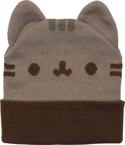 Pusheen the Cat Face and Ears Cuff Beanie
