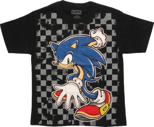 9991bdf2005a Sonic the Hedgehog Checker Board Youth T-Shirt