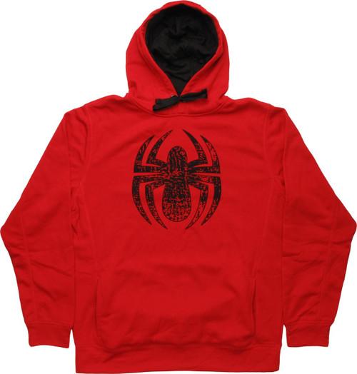 Spiderman Distressed Spider Logo Pullover Hoodie