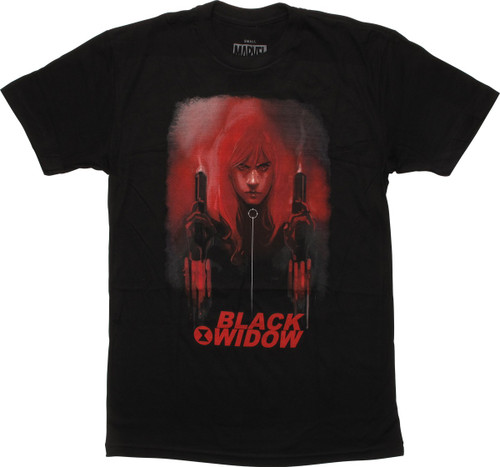 Black Widow Smoking Guns Womens Boyfriend T-Shirt