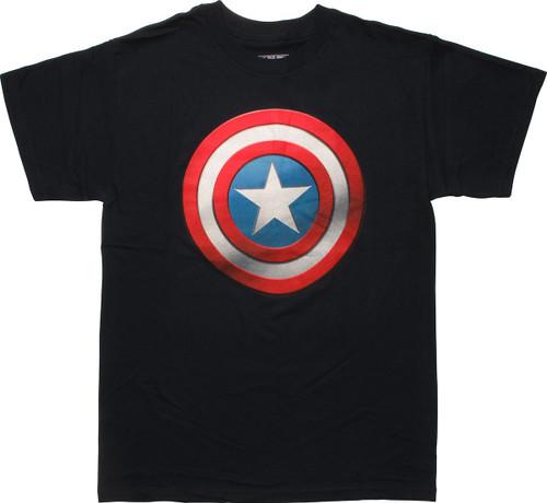 Captain America Shaded Shield Logo Navy T-Shirt