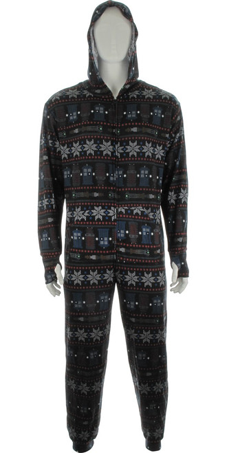 Doctor Who Snow Flakes Hooded Union Suit