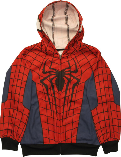 Spiderman Costume Black Cuffs Zip Youth Hoodie