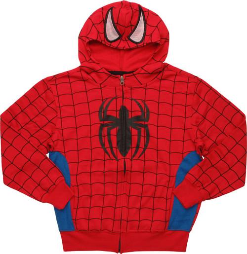 Spiderman Costume Mesh Eyes Zip Youth Hoodie