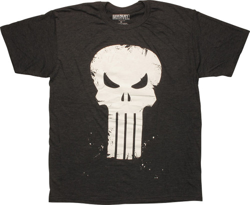 Punisher Scratch Skull Logo Charcoal T-Shirt