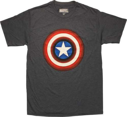 Captain America Shield Logo Heathered Navy T-Shirt