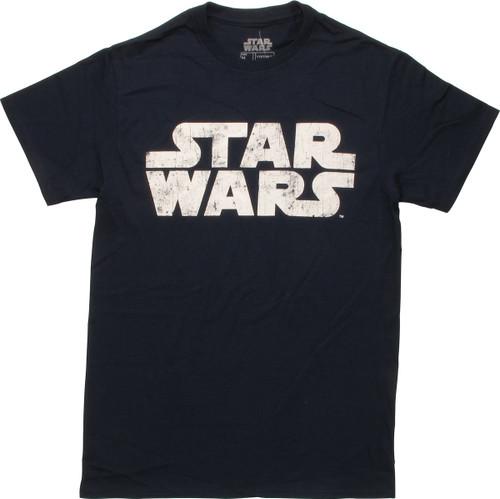 Star Wars Vintage Name Logo Navy T-Shirt
