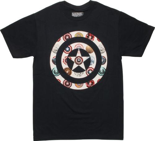 Captain America Logos on Shield Logo T-Shirt