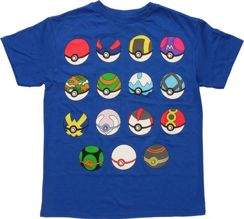 50b05368 Pokemon Fifteen Type Poke Balls Youth T-Shirt