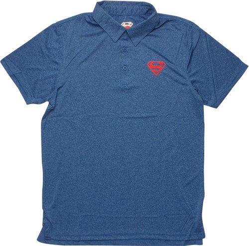 Superman Logo Heathered Blue Polo Shirt