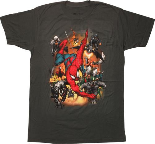 Spiderman Swinging Villains Attack T-Shirt