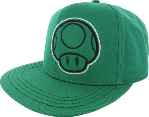 5df07b84d8d65 Mario 1up Mushroom All Green Snapback Hat