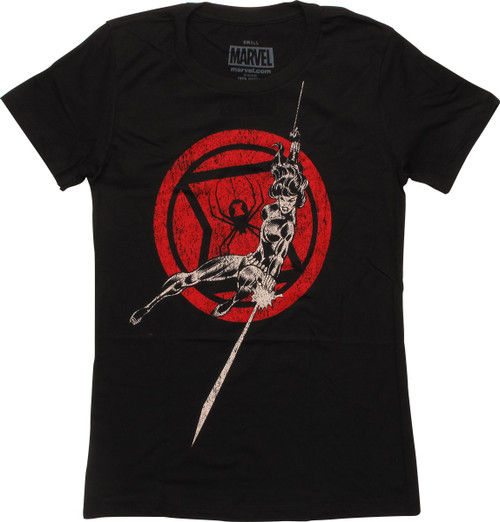 Black Widow Attack Over Logo Juniors T-Shirt